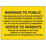 Warning To Public / Notice To Parents - Large Landscape
