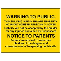 Warning To Public / Notice To Parents - Large Landscape