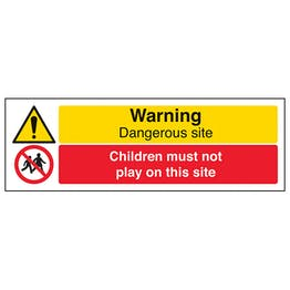 Warning Dangerous Site / Children Must Not Play On This Site - Landscape