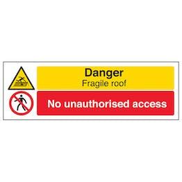 Danger Fragile Roof/No Unauthorised - Landscape