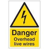 Danger Overhead Live Wires - Portrait