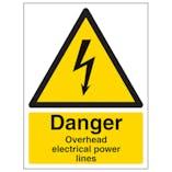 Danger Overhead Power Lines - Portrait