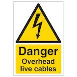 Danger Overhead Live Cables - Portrait