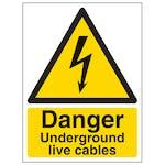 Danger Underground Live Cables - Portrait