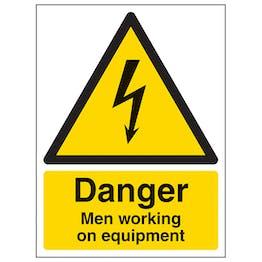 Danger Men Working On Equipment - Portrait