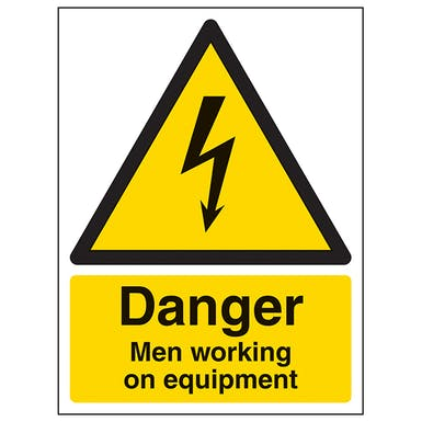 Danger Men Working On Equipment - Portrait