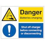 Danger Batteries Charging, Shut Off Charger