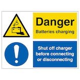 Danger Batteries Charging, Shut Off Charger