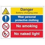 Danger Battery / Wear PPE / No Smoking / No Naked Light