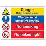 Danger Battery / Wear PPE / No Smoking / No Naked Light