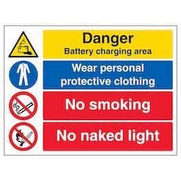 Danger Battery / PPE / No Smoking / No Naked Light