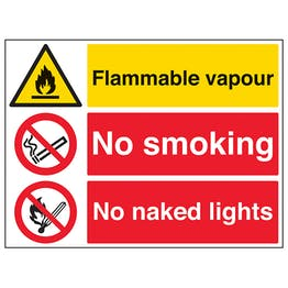Flammable Vapour/No Smoking/No Naked Lights