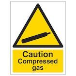 Caution Compressed Gas - Portrait