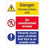 Multi Hazard Site Safety Must Warn Children - Portrait