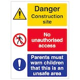 Multi Hazard Site Safety Must Warn Children - Portrait