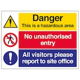 Hazardous Area / No Unauthorised Entry / Report To Site Office