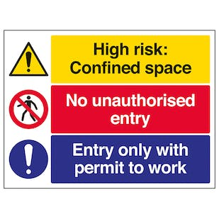Confined Space / No Unauthorised Entry / Permit To Work - Large