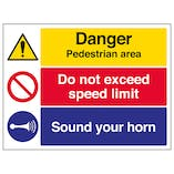 Pedestrian Area / Speed Limit / Sound Your Horn - Large Landscape