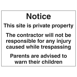 Contractor Will Not Be Responsible - Large Landscape