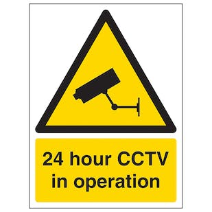 24 Hour CCTV In Operation - Portrait