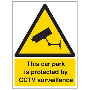 Car Park Is Protected By CCTV Surveillance - Portrait