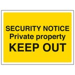 Security Notice, Private Property, Keep Out