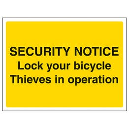 Security Notice Lock Your Bicycle - Landscape