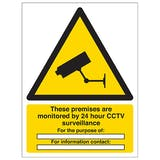 These Premises Are Monitored By 24 Hour CCTV - Portrait