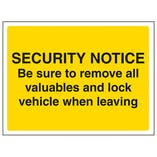 Be Sure To Remove All Valuables And Lock Vehicle When Leaving