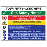 Multi Hazard Site Safety Notice 6 Points - Large Landscape