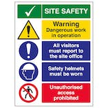 Site Safety / Warning Dangerous Work In Operation