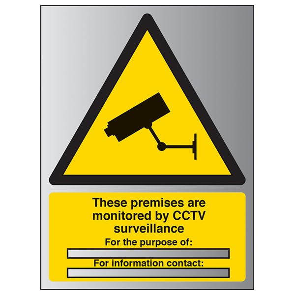 These Premises Are Monitored By CCTV - Portrait - Aluminium Effect