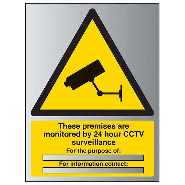 These Premises Are Monitored By 24 Hour CCTV - Portrait - Aluminium Effect