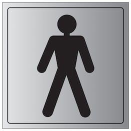 Male Toilet Symbol - Aluminium Effect