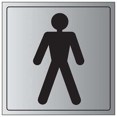 Aluminium Effect - Male Toilet Symbol