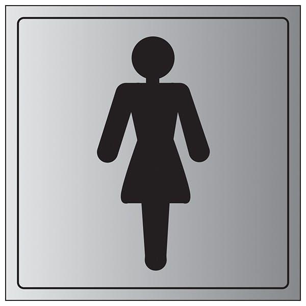 Female Toilet Symbol - Aluminium Effect