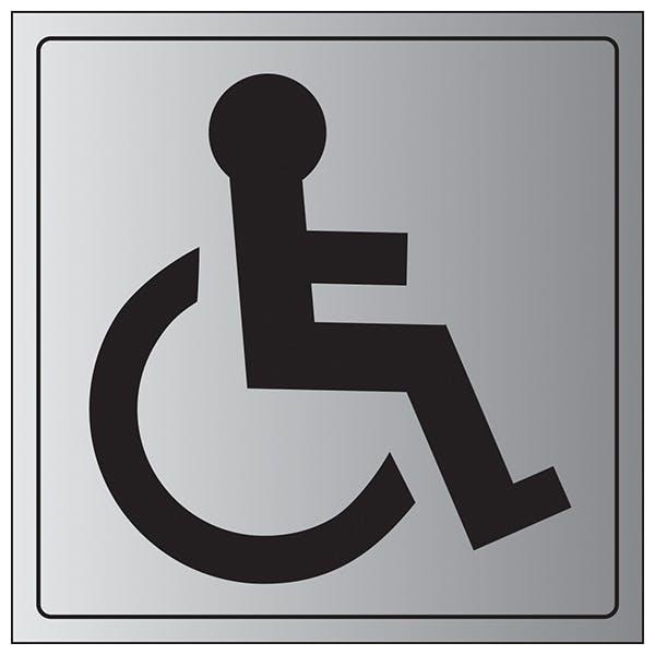 Disabled Toilet Symbol - Aluminium Effect