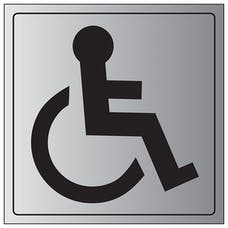 Disabled Toilet Symbol - Aluminium Effect