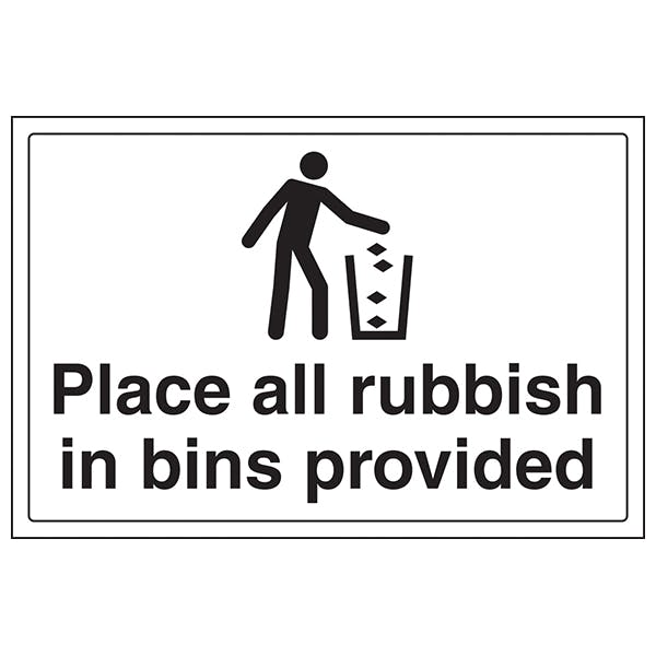 Place Rubbish In Bins Provided - Large Landscape