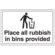 Place All Rubbish In Bins Provided - Large Landscape