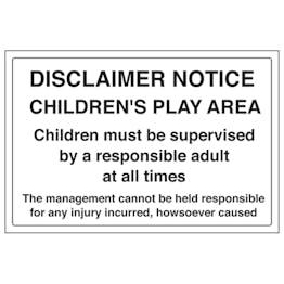 Disclaimer Notice - Children's Play Area - Large Landscape