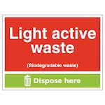 Light Active Waste (Biodegradable Waste) Dispose Here