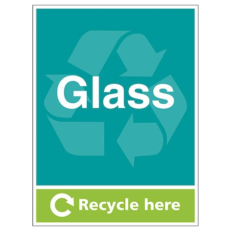 Glass Recycle Here - Portrait