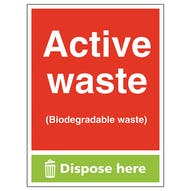 Active Waste (Biodegradable Waste) Dispose Here - Portrait