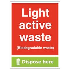 Light Active Waste (Biodegradable Waste) Dispose Here - Portrait