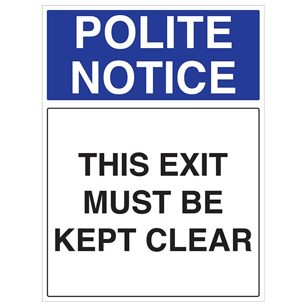 This Exit Must Be Kept Clear - Portrait