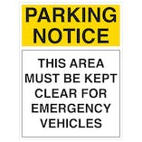 This Area Must Be Kept Clear For Emergency Vehicles - Portrait