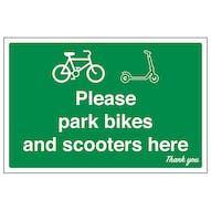 Please Park Bikes and Scooters Here