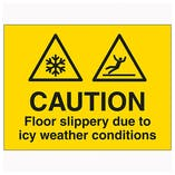 Caution Floor Slippery Due To Icy Weather Conditions