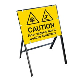 Caution Floor Slippery Due To Weather Conditions with Stanchion Frame